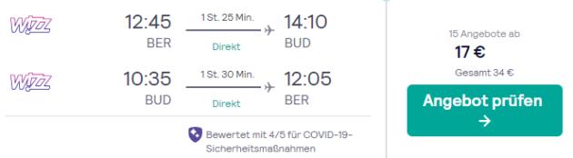 Flug Berlin Budapest