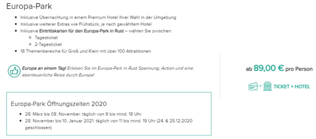 Europa Park Angebot