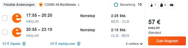Flug Berlin Olbia