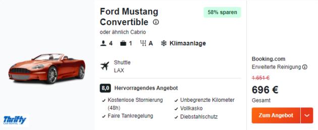 Westküste Ford Mustang Mietwagen