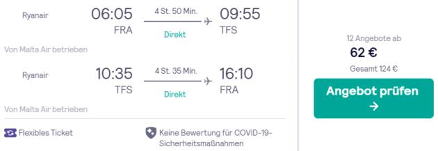 Flug Frankfurt Teneriffa