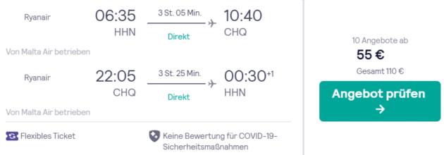 Flug Hahn Kreta