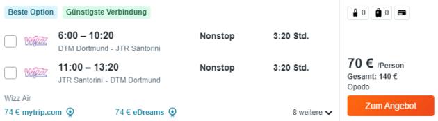 Santorini Angebot