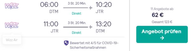 Flug Dortmund Santorini