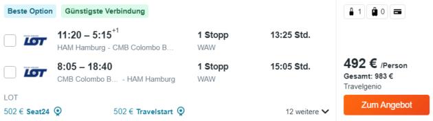 Flug Hamburg Colombo