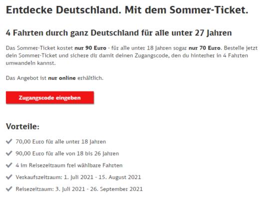 Deutsche Bahn Sommer Ticket