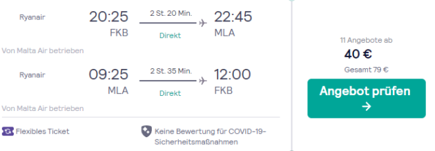 Flug Karlsruhe Valletta