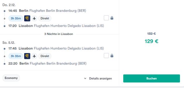 Screenshot 3 Tage Lissabon Flug