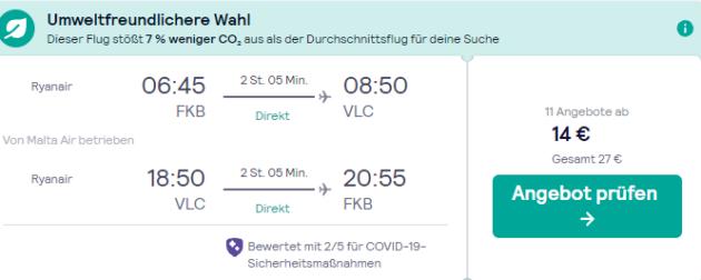 Screenshot 4 Tage Valenica Flug