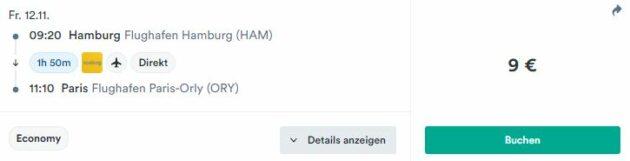 Hamburg nach Paris Kiwi